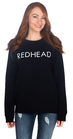 Calling all redhead babes! Rock this cozy fitting crew neck sweatshirt with pride. Pair this graphic sweatshirt with basically anything, and you're all set! Silver Icing, Stylist Pick, Cricut Explore, Stylists, Label, Graphic Sweatshirt, Sweatshirts, Sweaters, Projects