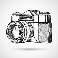 Szüreti Szórakozottan firkálgat kamera, kézzel rajzolt — Stock Illusztráció #17823401