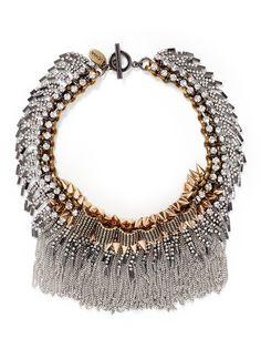 VENNA Crystal pavé plate fringe collar necklace
