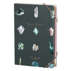 Ted Baker Womens A5 Notebook With Sticky Notes & Pencil - Linear Gem