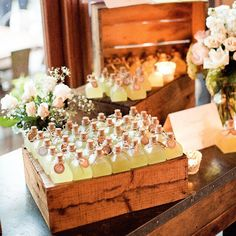 Planning a spring wedding? Why not try this decorative and delicious #bomboniere idea – glass bottles with homemade limoncello. Styling by #GirlFridayWeddings #dyi #spring #weddingfavours #weddinginspiration