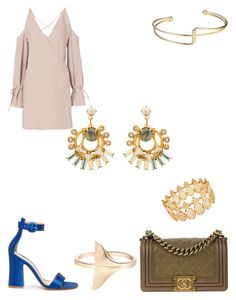 """crystal marble drop earrings"" by bethanyyk on Polyvore featuring Elizabeth Cole, IRO, Gianvito Rossi, Chanel and INC International Concepts"