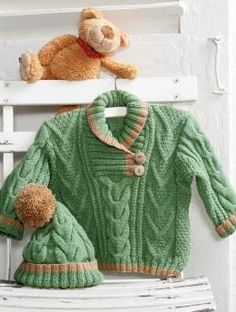 sweater and hat cables free knitting pattern pattern. ADORABLE!