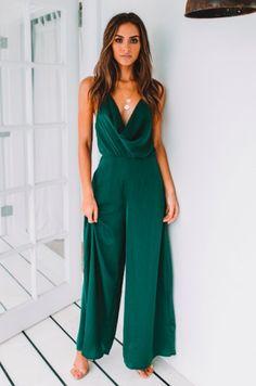 Divine Kalani Jumpsuit - Emerald In love with this ultra feminine jumpsuit perfect for semi formal occasion Formal Jumpsuit, Wedding Jumpsuit, Formal Romper, Prom Jumpsuit, Summer Jumpsuit, Mode Outfits, Chic Outfits, Fashion Outfits, Pretty Outfits