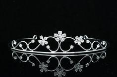 Princess Bridesmaid Flower Girl Rhinestone Crystal Tiara (Clear Crystals Silver Plated)