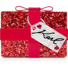 Karl Lagerfeld Valentine Minaudiere (£130) ❤ liked on Polyvore featuring bags, handbags, clutches, red, karl lagerfeld handbags, party clutches, bow purse, heart shaped purse and red heart purse