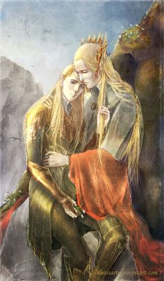 "A few warm by Helesssart.deviantart.com on @deviantARTThranduil and Legolas. Artist's Description: ""Just wanted to say, that children continue to stay as children for their parents even when they are grown up."""