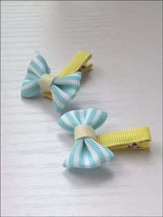 Mini mint stripped bow hair clips by SayYouLove on Etsy, $5.00