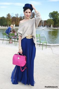 Blue Maxi Skirt, Pink Bag, Beige Sweater