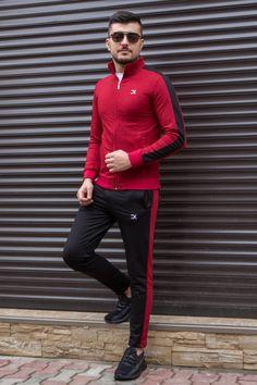 Trening Bumbac EX Visiniu-Negru TRB1 Red Leather, Leather Jacket, Slim, Jackets, Style, Fashion, Lab Coats, Studded Leather Jacket, Down Jackets