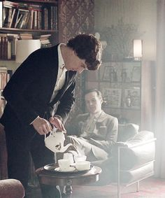 Sherlock logic: Totally acceptable to offer tea when talking to an enemy.