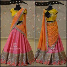 JUL Available For queries/ price details Whats App us on Lehenga Designs Simple, Half Saree Designs, Saree Blouse Neck Designs, Blouse Patterns, Lehenga Saree Design, Half Saree Lehenga, Lehnga Dress, Bridal Lehenga, Indian Fashion Dresses