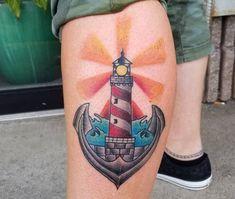 Lighthouse tattoo motifs, ideas and meanings Little Tattoos, Tattoos For Guys, Retro Tattoos, Tattoo Motive, Up Halloween, Body Art Tattoos, Tatoos, Get A Tattoo, Lighthouse