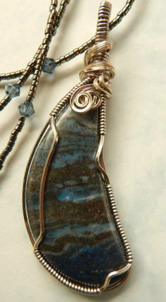 Jo with Wrapsody by Jo created this pretty Lapis Pendant with matching chain.