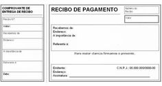 Modelo de recibo de pagamento com canhoto