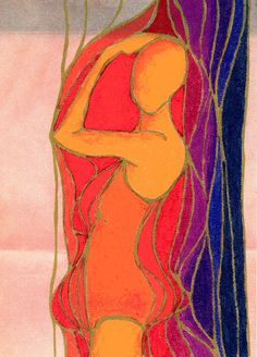 """February 15, """"I'm still in here somewhere.""""  Marker & oil pastel on canvas paper by Dottie D'Acquisto Graham"""