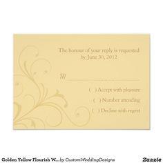 Golden Yellow Flourish Wedding RSVP Reply Card