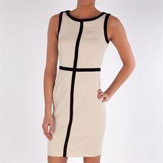 Calvin Klein Sheath Dress with Color Block Trim #VonMaur #CalvinKlein #Black #White