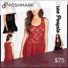"""FREE PEOPLE Dress Lace Mini 💟NEW WITH TAGS💟 RETAIL PRICE: $88 Gorgeous! FREE PEOPLE SLIP DRESS Boho Crochet Lace Mini   * Scoop neck front  * Tank straps  * Semi-sheer lace style for layering  * Fit-and-flare, A-line style w/a drop waist  * Approx 33"""" long  * Stretch-to-fit fabric   Material: cotton & 40% nylon  Color:Dark red Item#: embellished pleated # witchy red fuschia bodycon body conscious bandage shift sheath Vintage feel 🚫No Trades🚫 ✅ Offers Considered*✅ *Please use the blue…"""