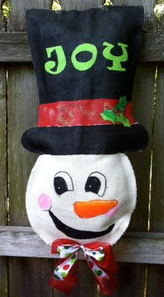 Snowman Burlap Door Hanger by BrunsonBerryPaints on Etsy, $40.00