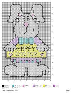 HAPPY EASTER BUNNY by KATHY -- WALL HANGING