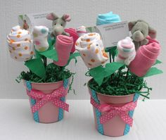 baby shower centerpiece. Onsies and socks flower bouquet
