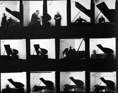 Igor Stravinsky | Arnold Newman - Newman's contact sheet shows the development of the concept and arrives to a very intelligent and synthetic crop.