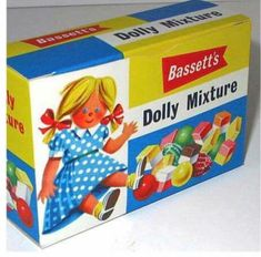 Bassett's Dolly Mixture shop box Our Doctor used to give us a Dolly Mixture sweet after our vaccinations, so I have mixed feelings about them. Old Sweets, Vintage Sweets, Retro Sweets, 1970s Childhood, My Childhood Memories, Sweet Memories, Dolly Mixture, Vintage Packaging, My Memory