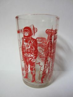 Vintage SPACE ROCKET - SPACE MAN - SATELLITE - Outer Space Cup
