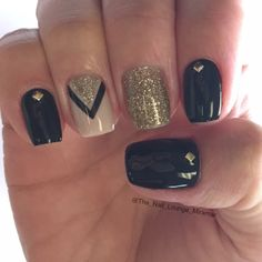 Black gold glitter gel nail art design                                                                                                                                                                                 More