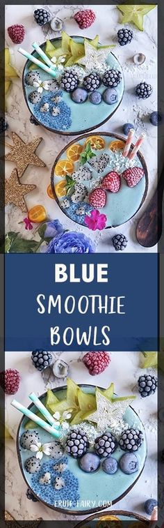 How to make Blue Smoothie Bowls (recipe & video instructions) fully vegan & healthy - Fruit Fairy Vegetable Smoothie Recipes, Peach Smoothie Recipes, Healthy Fruits And Vegetables, Healthy Breakfast Smoothies, Summer Snacks, Smoothie Bowl, Eating Habits, Yummy Drinks, Vegan Recipes