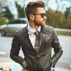 dress it up // biker jacket, leather, tie, oxford, sunglasses