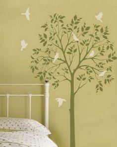 Modern Kids Bedroom Walls Decoration Ideas with Birds Tree Wall Murals Art