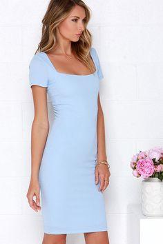 Photo Opportunist Powder Blue Bodycon Midi Dress at Lulus.com!