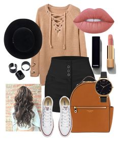 """""""Untitled #171"""" by ntone3 ❤ liked on Polyvore featuring LE3NO, Lime Crime, Chanel, Eugenia Kim, Henri Bendel, Converse and Olivia Burton"""