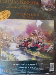 Thomas Kinkade LAMPLIGHT BRIDGE Embellished Cross Stitch KIT Sealed  #50925 #CandamarDesigns
