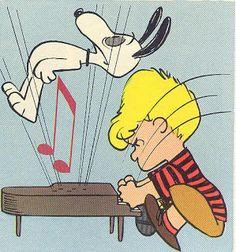 """NO dancing on the piano!"" Schroeder has had it with Snoopy Peanuts Gang, Peanuts Cartoon, Sally Brown, Peanuts Characters, Cartoon Characters, Daddy Yankee, Piano Y Violin, Charlie Brown Y Snoopy, Charles Shultz"
