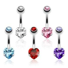 DOUBLE GEM SEXY BLING HEART BELLY NAVEL RING PRONG CZ BUTTON PIERCING JEWEL B752