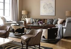 fancy living room with a brown furniture theme