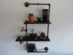 Industrial Black Pipe Two Tier Shelf with Planter por Mobeedesigns