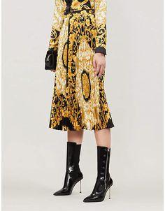 a7f7460ee0 Scarf-print plissé silk midi skirt. Versace ScarfDonatella ...