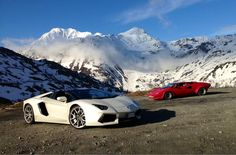 Lamborghini Countach and Aventador on the Simplonpass (swiss alps)