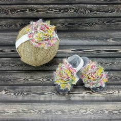 Dress up your babys outfit with these cute barefoot sandals and headband. These are perfect for parties, baptisms, or everyday wear. The