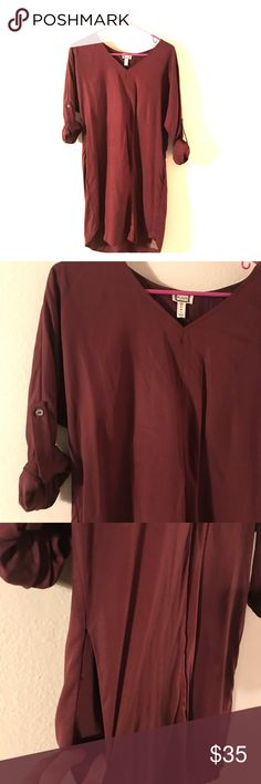 Maroon dress NWT Beautiful soft dress with button detail sleeves and pockets Dresses Mini