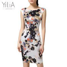 2017 Yilia Floral Print Dress Women Elegant Vintage Chinese Ink Printed Bodycon Dress 4XL Sexy Sleeveless Plus Size Mini Dress