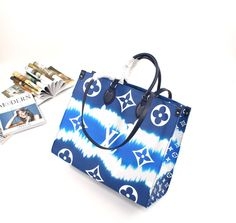 Louis Vuitton Monogram Escale Canvas Onthego GM Bleu by the ancient Japanese Shibori technique of knotting and folding the fabric befo Cute Purses, Purses And Bags, Backpack Purse, Tote Bag, Fashion Bags, Women's Fashion, Blue Bedrooms, Barbie, Arm Candies