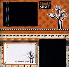 Premade Halloween Scrapbook Page - Spooky Night