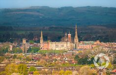 The spires and towers of #Shrewsbury, #Shropshire, seen from Haughmond Hill.