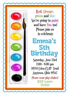 Art Invitations Painting Party Birthday Party Paint Box in Art Birthday Party Invitations - Best Birthday Party Ideas 6th Birthday Parties, Birthday Crafts, Birthday Ideas, Birthday Box, Husband Birthday, Artist Birthday Party, Birthday Design, Happy Birthday, Birthday Recipes