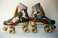 Miriam Slater Blog: Disco Skates 1970's Roller Disco, Roller Derby, Roller Skating, Rollers, Boogie Wonderland, Skate Girl, Old Shoes, Cute Pins, Retro